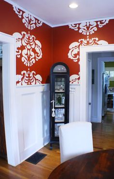 Oversized Damask stencil. Very graphic.