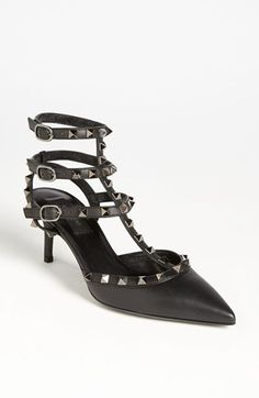 I love my job officially rocking the Valentino 'Rockstud' T-Strap Pump in black available at #Nordstrom