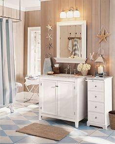 Interior and Decor , Nautical Theme For Bathroom : Cute Nautical Theme Bathroom With White Furniture And Starfish Accessories
