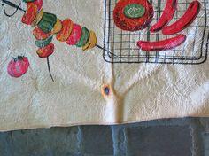 Burlap and Vinyl Tablecloth Picnic (haha)