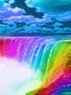 Rainbow Waterfall - What does it mean Rainbows Rainbow Falls Hilo, Rainbow Gif, Rainbow Waterfall, Rainbow Dash, Rainbow Colors, Beautiful Waterfalls, Beautiful Landscapes, Turtleback Falls, Foto Gif