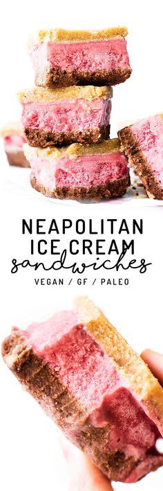 No-churn strawberry ice cream sandwiched between grain-free chocolate   vanilla cookies for a healthy triple layer summer treat! Vegan, paleo, refined sugar-free.