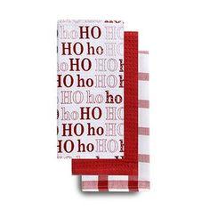 Harman Christmas Holiday 'Ho Ho Ho' Cotton Kitchen Towel - Set of 3 (Red)