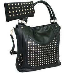 Womens Chic Rhinestone Accent Fashion Purse Handbag With Matching Wallet  Black ** Read more reviews of the product by visiting the link on the image.