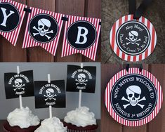 These fun pirate flag cupcake toppers are the perfect addition to any pirate themed birthday party! Purchase our pirate boat cupcake wrapper and turn your cupcakes into pirate ships (link below)! Cupcake toppers are personalized with your child's name and birthday age. These cupcake toppers come to you as a high resolution PDF file which can easily be printed by you at home on your color printer or printed by any printing shop such as Kinkos/Fed-Ex. Pirate Party Favors, Pirate Party Decorations, Pirate Theme, Pirate Boats, Party Giveaways, Pirate Ships, Pirate Life, Jolly Roger, Cupcake Wrappers