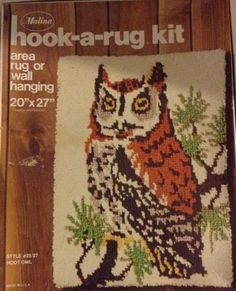 HOOT OWL in Tree Latch Rug Hook Kit New/Old Stock Sealed Malina 20x27 #Malina