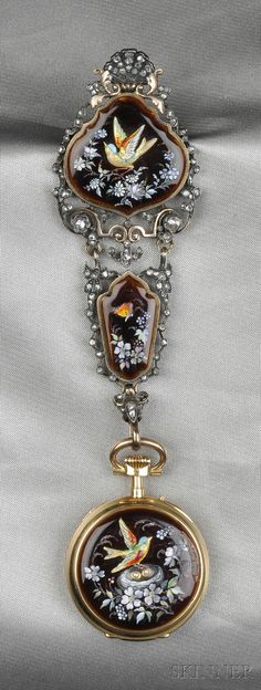 Antique Enamel and Diamond Watch, Charles Oudin, and Chatelaine, France