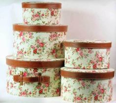 """Floral Hatboxes    Constructed to endure and secure the safekeeping of one's finest millinery, cherished old letters, or priceless what-not. Smallest 9 x5"""". Largest 14 x 8""""."""
