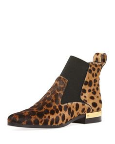 Leopard-Print Calf Hair Ankle Boot by Chloe at Neiman Marcus.