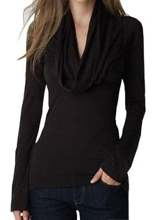 Women's Low-Cut Scarf Collar Full Sleeve Solid Color Sweater Pullover Two Color  on buytrends.com