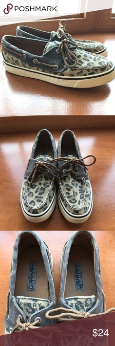 Sperry Top-Sider Boat Shoes Super cute cheetah print Sperry Top-Sider boat shoes  Worn a handful of times  Size: women's 5 medium width   Color: beige, tan, & black Sperry Shoes Flats & Loafers