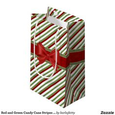 Red and Green Candy Cane Stripes with Bow Small Gift Bag