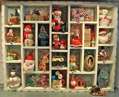 Vintage Christmas Treasures Cubby Display