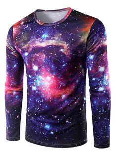 $14.96 Round Neck 3D Print Galaxy T-Shirt