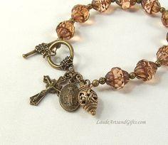 Rosary Bracelet Chaplet Prayer Beads Topaz Bohemian Glass Pink 7 1/2 inches
