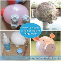 How to make a papier mache piggy bank at home from recycled materials. How to make a papier mache piggy bank at home from recycled materials. The post How to make a papier mache piggy bank at home from recycled materials. appeared first on Paper ideas. Kids Crafts, Projects For Kids, Diy For Kids, Cute Crafts, Craft Projects, Paper Mache Crafts For Kids, How To Paper Mache, Brisbane Kids, Paper Mache Projects