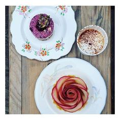 @clerkenwellboyec1 stopped by the bakery today and got this awesome shot of our new vegan raw berry and cream cakes plus our beautiful rose apple custard tart