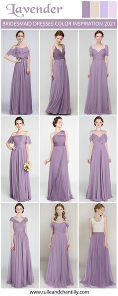 lavender wedding color inspiration with bridesmaid dresses 2021#wedding #weddinginspiration #bridesmaids #bridesmaiddresses #bridalparty #maidofhonor #weddingideas #weddingcolors #tulleandchantilly