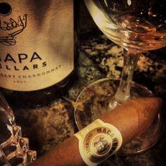 Macanudo and a glass of wine