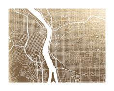 Portland Map Foil-Stamped Wall Art