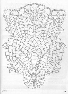 Crochet Doily Diagram, Crochet Doily Patterns, Crochet Motif, Crochet Doilies, Stitch Patterns, Knit Crochet, Crochet Basket Tutorial, Crochet Dreamcatcher, Pineapple Crochet