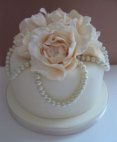 Candy pearls add a level of elegance and simplicity to this classic white cake.