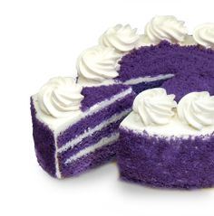 UBE MACAPUNO CAKE Succulent macapuno (young coconut) strips add delightful flavor to ube (purple yam) chiffon filled with coconut pastry cream and covered with ube crumbs for pure pleasure. Red Ribbon Bakery, Cerritos CA Purple Yam, Purple Food, Beautiful Cakes, Amazing Cakes, Just Desserts, Dessert Recipes, Yummy Treats, Sweet Treats, Filipino Desserts