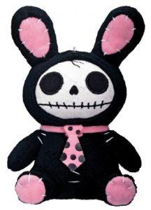Nem5266 Furry Bones~Cute Black Bunny Skeleton Plush Figure 17cm~By Folio Gothic Hippy