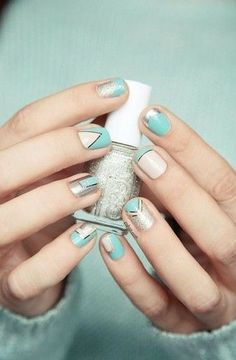 Mint mani with a touch of shine.