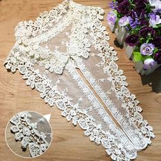 Off White Cotton Lace Collar Appliques Floral Embroidery Collar Neckties 1 pcs Cloth Flowers, Fabric Flowers, Flower Applique, Embroidered Flowers, Tulle Lace, Lace Fabric, Wedding Dress With Veil, Collars For Women, Sewing Appliques