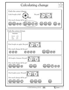 Calculating change - Worksheets & Activities | GreatSchools
