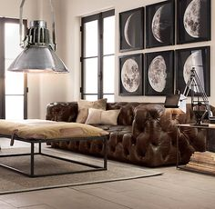 Soho Tufted Leather Sofas - The thing I love the most about Restoration Hardware is that they are not afraid to be masculine with their design at all...This sofa and room design masculine as ever but simply amazing!  )) jacklove ((