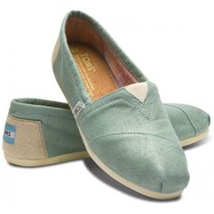 TOMS Mint Metallic Linen Classic Slip-On Shoes for Women 8.5 found on Polyvore