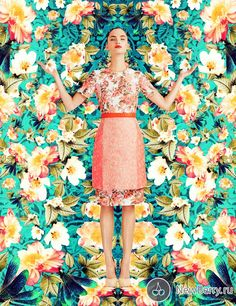 "The German model Dalia Guenther in beautiful photography ""dazzling garden"", dedicated to the vibrant and fashionable prints to the June edition of Vision China 2013."