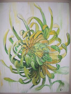 Green Chrysanthemum Painting on Etsy