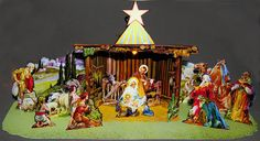 "Lovely '50s 3-d Nativity Scene for 18"" girl dolls. A DIY printie CD at PaperMinis.com"