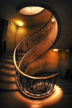 Love the color, graceful spiral and railings. Photo by Cyril Fontaine.