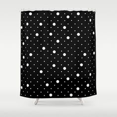 Pin Point Polka Dots White on Black Shower Curtain