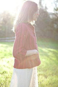 Sister Little Fog Jacket in Striped Wool. Made in San Francisco by Poppy von Frohlich.