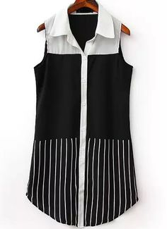Black Lapel Sleeveless Vertical Stripe Blouse 12.50