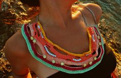 Colorful crochet necklace by WED.LAB
