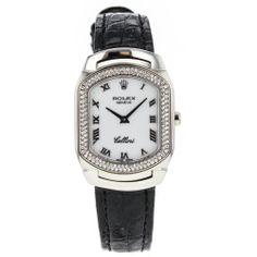Rolex Cellini 6691 18k White Gold Watch With Diamond Bezel on Leather Strap #Rolex #LuxuryDressStyles