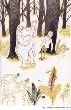 Kitty Crowther — Le Petit homme et Dieu Illustrators, Visual, Kitty Crowther, Kawaii, Graphic Illustration, Colored Pencils, Picture Book, Painting, Art
