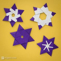 6-pointed modular origami stars, designed by Maria Sinayskaya, folded from 6 square sheets of kami paper without glue. Find out more!
