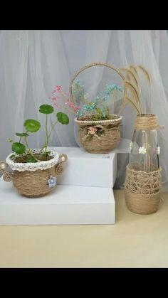 Vase Crafts, Easy Paper Crafts, Fun Diy Crafts, Craft Stick Crafts, Bottle Crafts, Pillow Crafts, Flower Embroidery Designs, Diy For Kids, Creations