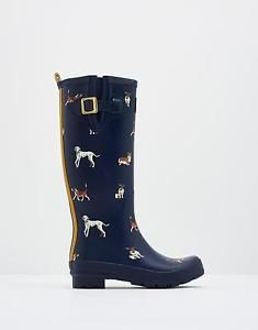 Joules Womens Printed Welly Boots w/ Outer Buckle Detail - New Navy Dogs