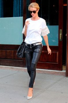 67eed3654ffa Rosie Huntington-Whiteley in Off-Duty Celebrity Outfits Leather Fashion