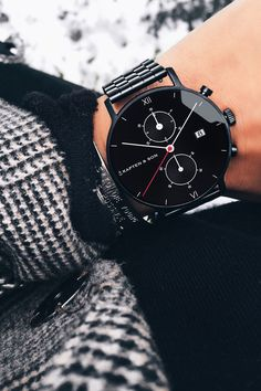 our Kaptens - our world Chrono Black Midnight Steel by Kapten & Son Stylish Watches, Luxury Watches, Rolex Watches, Watches For Men, Kapten & Son, Men's Accessories, Skeleton Watches, Stylish Men, Fashion Watches