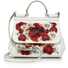 Dolce & Gabbana Sicily Small Floral-Print Textured Leather Top-Handle... ($2,720) ❤ liked on Polyvore featuring bags, handbags, apparel & accessories, white red floral, red satchel purse, satchel handbags, top handle leather handbags, red purse and floral purse