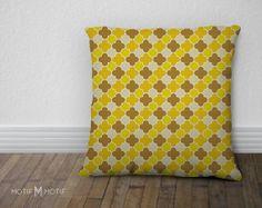 Quatrefoil Print Pillow Cover  Citrine Mustard by MotifMotifShop, $57.99